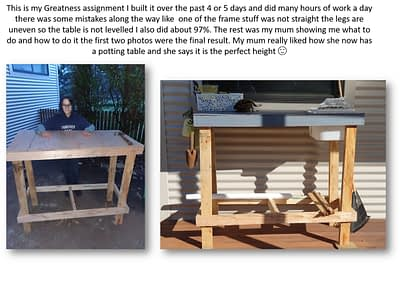A potting table for Mum by Jackson