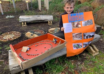 Harvey created a motorbike track and shared his knowledge about motorbikes
