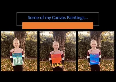 Sierra and her artistic painted canvas creations