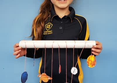 Sophie learnt all about the Solar System and then made a model of the planets