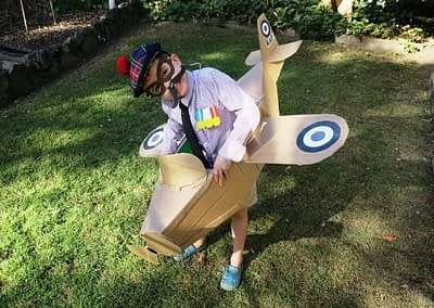 Stewart and his Dad made this amazing spitfire from a cardboard box