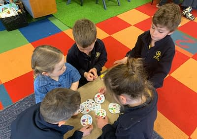 Students playing board games together