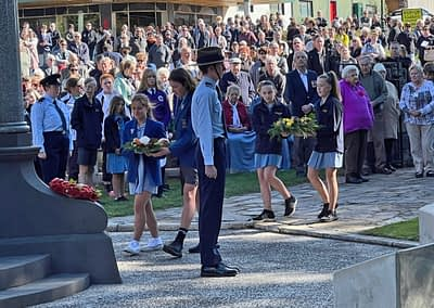 Students marching on ANZAC Day