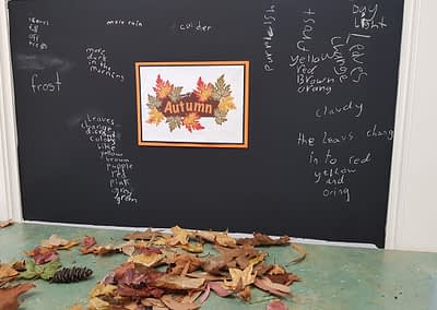 blackboard with writing about autumn