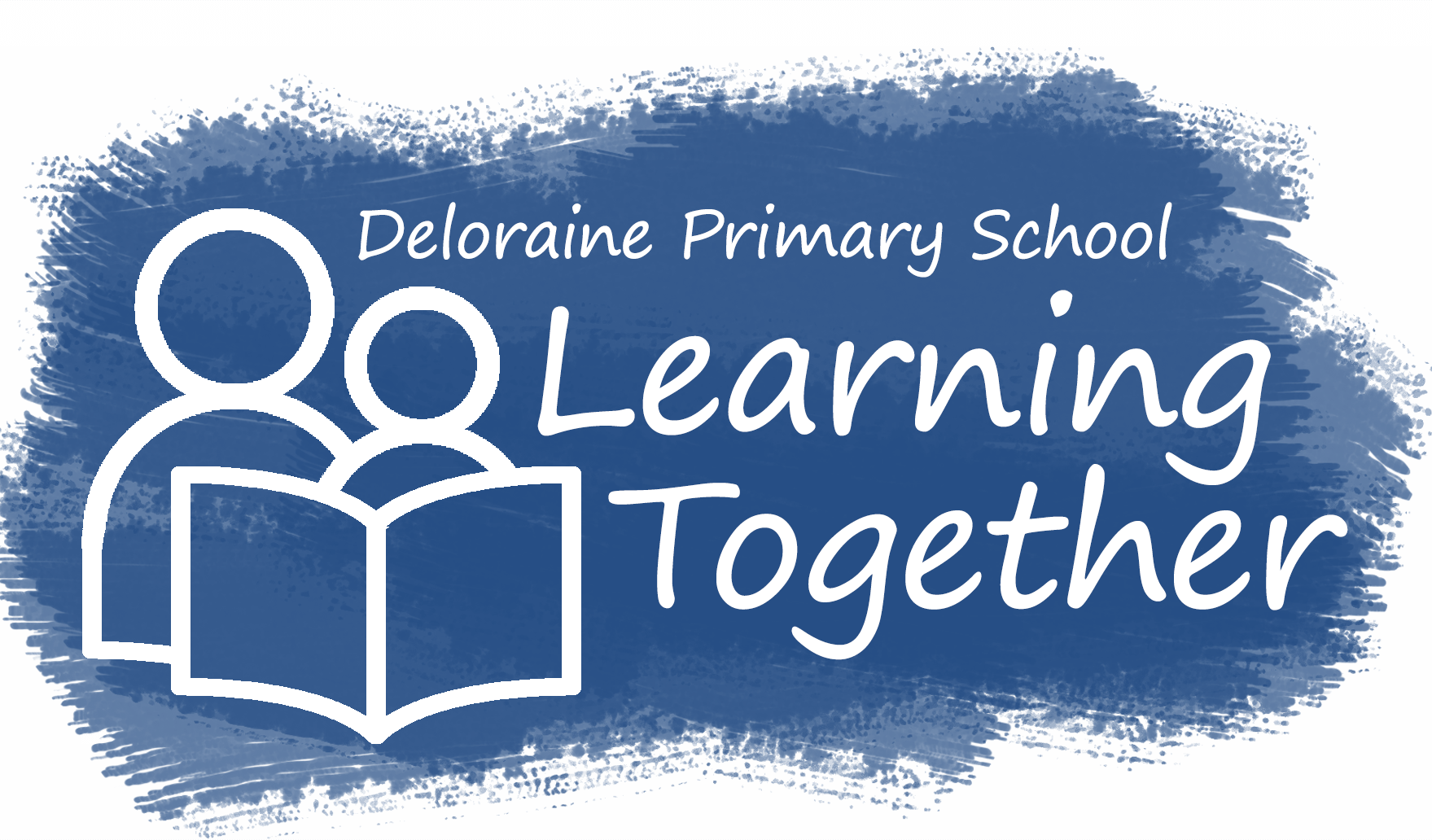 logo illustration of a adult and child reading together